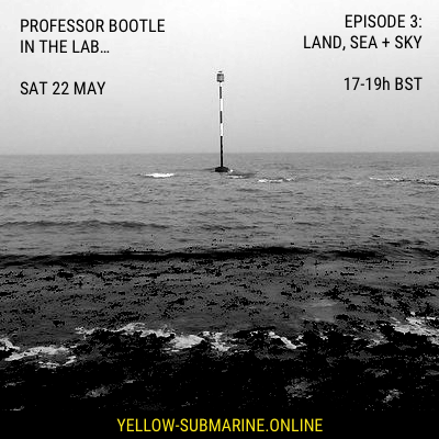 In The Lab… Ep 3 flyer with radio show information and a picture of a shore line with beacon